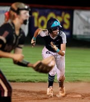 Siegel's Lauren Lee (1) runs to third base during the game against Riverdale on Tuesday, May 7, 2019, at Oakland, in Murfreesboro.