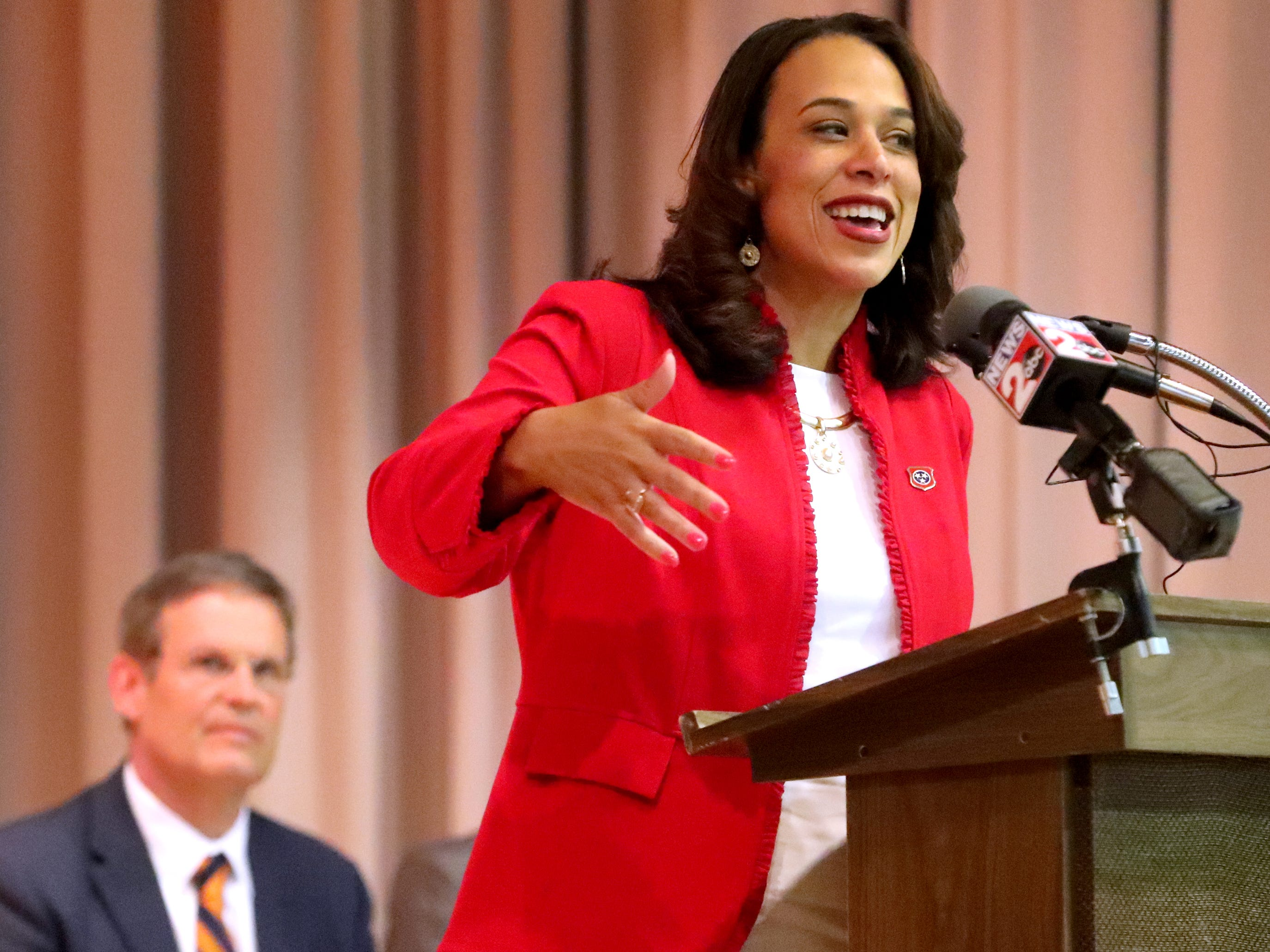 Danielle W. Barnes, DHS Commissioner speaks during a CVS/TRC-Smyrna Mock Store Grand Opening Ceremony on Wednesday, May 8, 2019, at the Tennessee Rehabilitation Center, in Smyrna.