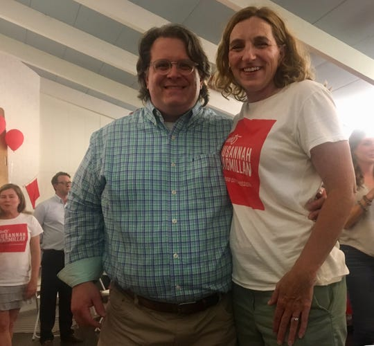 Political newcomer Susannah Macmillan, pictured with her husband, Rob, received the most votes out of all nine candidates in Tuesday's election.