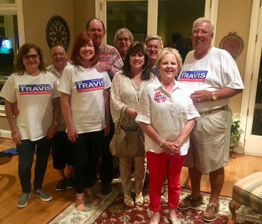Commissioner Ken Travis, right, celebrated his second election win for Brentwood City Commission at home with friends and family Tuesday night.