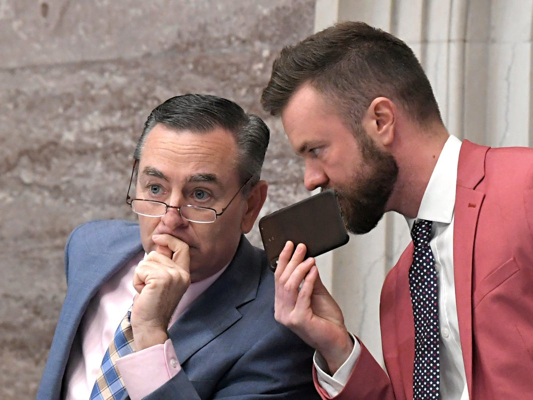 Tennessee's Speaker of the House of Representatives Glen Casada, left, and his chief of staff Cade Cothren during session in Nashville on May 1, 2019.