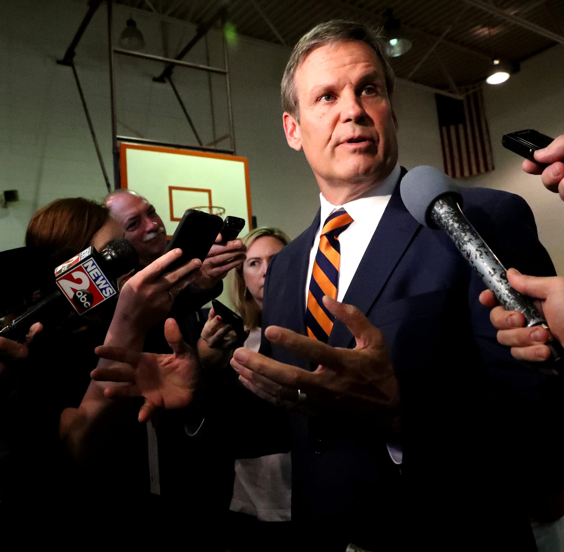 Tennessee Governor Bill Lee addresses questions from the media about Tennessee House Speaker Glen Casada's former questionable text messages, during a CVS/TRC-Smyrna Mock Store Grand Opening Ceremony on Wednesday, May 8, 2019, at the Tennessee Rehabilitation Center, in Smyrna.