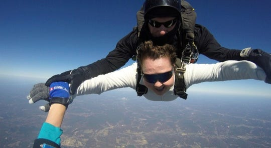 Mollie Mills Sheppard crosses off a bucket list item Oct. 18, 2015, more than a year into battling cancer when she jumped out of a plane with Music City Skydiving
