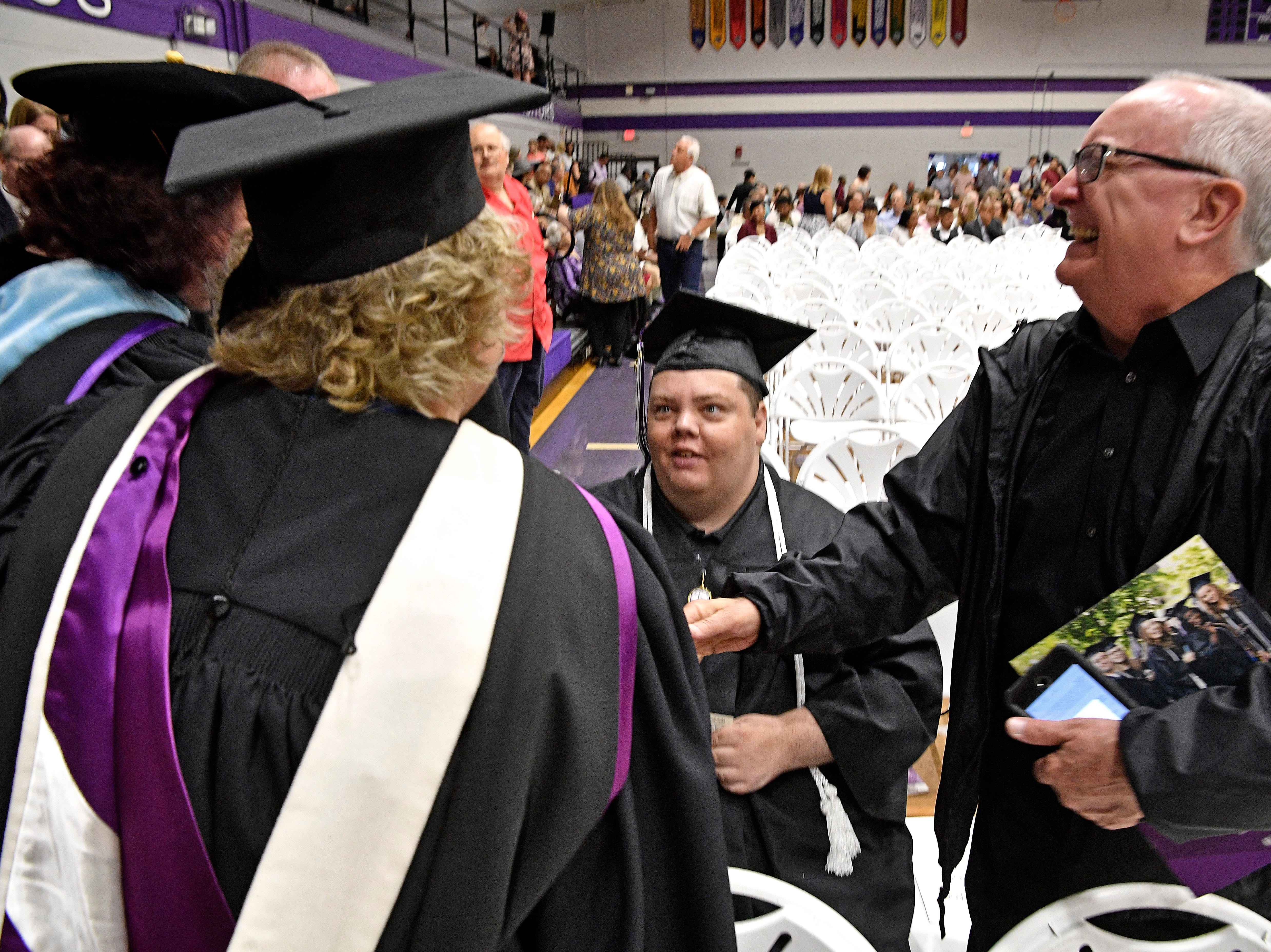 Brian Schnelle graduated from Trevecca on Saturday after 12 years as a student. He is on the autism spectrum & has pursued his degree for all those years, taking about 6 credits a semester Saturday, May 4, 2019, in Nashville, Tenn.