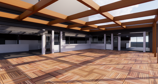 An architectural rendering of Hampton Social's third floor rooftop