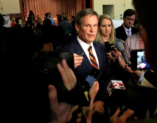 Gov. Bill Lee addresses questions from the media about Tennessee House Speaker Glen Casada's text messages May 8, 2019, at the Tennessee Rehabilitation Center in Smyrna.