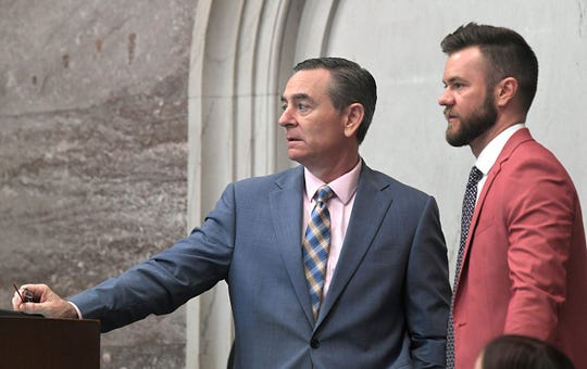 Glen Casada, left, and his now-former chief of staff Cade Cothren during session in Nashville on May 1.