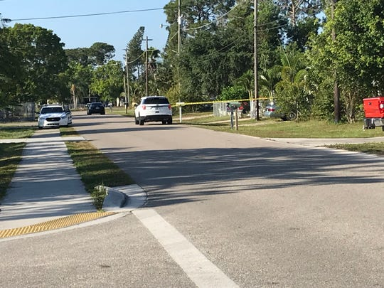 Deputies from the Lee County Sheriff's Office investigate a stabbing near a home close to the intersection of Wagon Trail and Stardust Drive in Bonita Springs at 9 a.m. on May 8, 2019.