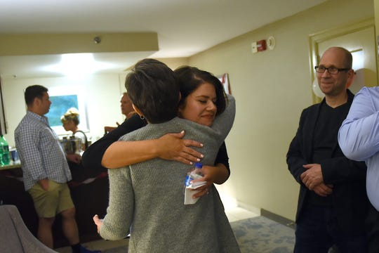 Licking County Municipal Court judge candidate Deborah Lang thanks and hugs supporters as final results come in in favor of her opponent Matthew George.The Republican winner will go up against the Democratic primary winner, Max Sutton, for municipal court judge in November.