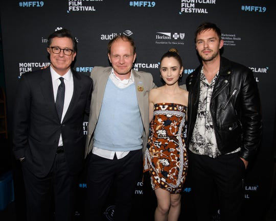 "Stephen Colbert, Dome Karukoski, Lily Collins and Nicholas Hoult before the screening of ""Tolkien"" at the Montclair Film Festival. May 7, 2019."