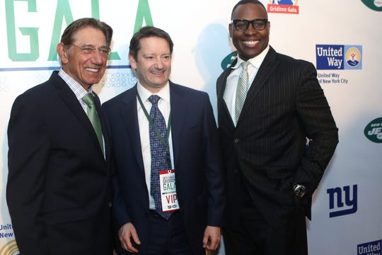 Legendary quarterback, Joe Namath (left) and others, pose on the red carpet, at the Gridiron Gala, at the New York Hilton Midtown. Tuesday, May 7, 2019
