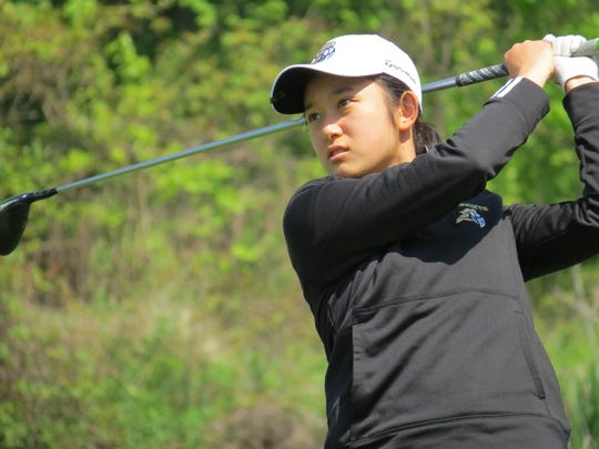 Bergen Tech freshman Emma Shen placed fourth at the Bergen County Girls Golf Championship at Overpeck Golf Course in Teaneck on Wednesday, May 8, 2019.