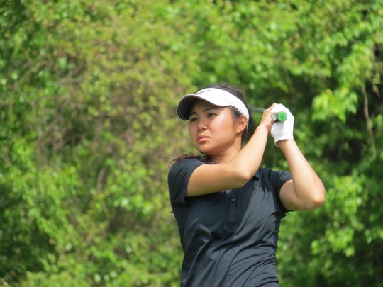 Fort Lee senior Sun Hwang finished third at the Bergen County Girls Golf Championship at Overpeck Golf Course in Teaneck on Wednesday, May 8, 2019.