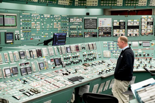 FILE - This May 22, 2017, file photo, shows the control room at the Three Mile Island nuclear power plant in Middletown, Pa. The owner of Three Mile Island, site of the United States' worst commercial nuclear power accident, is acknowledging in a Wednesday, May 8, 2019 statement that it is unlikely to get a financial rescue from Pennsylvania and says it plans to go through with a shutdown starting June 1.