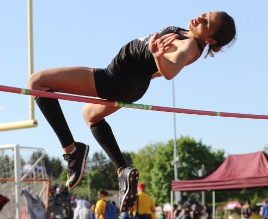 Ashley Martinez of Passaic Tech places first in the long jump and high jump on Day 2 at the Passaic County Championships, Wednesday, May 8, 2019. PCT wins the team title.