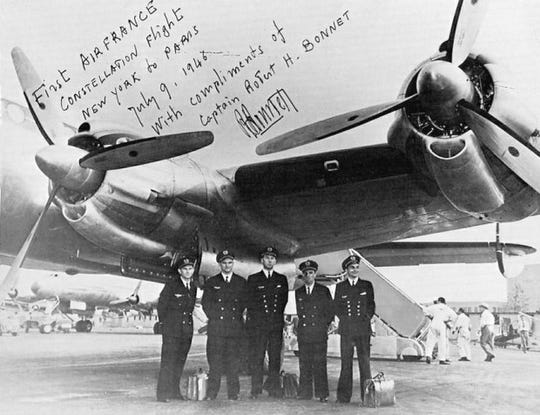 The first transatlantic flight of Greenwood Lake Airport's Lockheed Constellation was marked by this July 9, 1946 photo.