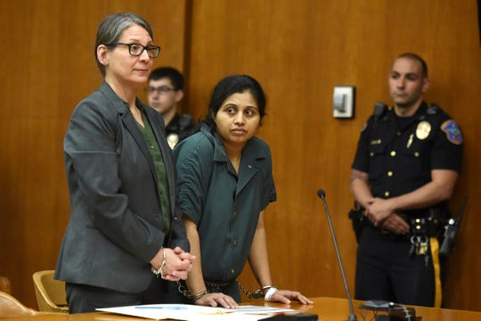 Hiralbahen Bhavsar, 29, of Little Ferry is charged with killing her 5-day-old daughter. Bhavsar, pleaded not guilty to the charges during her first court appearance in Bergen Superior Court, with her attorney Ilene McFarland, on Wednesday, May 8, 2019.
