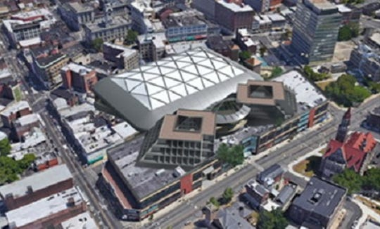 This rendering shows a proposed arena and hotel at Paterson's Center City Mall.