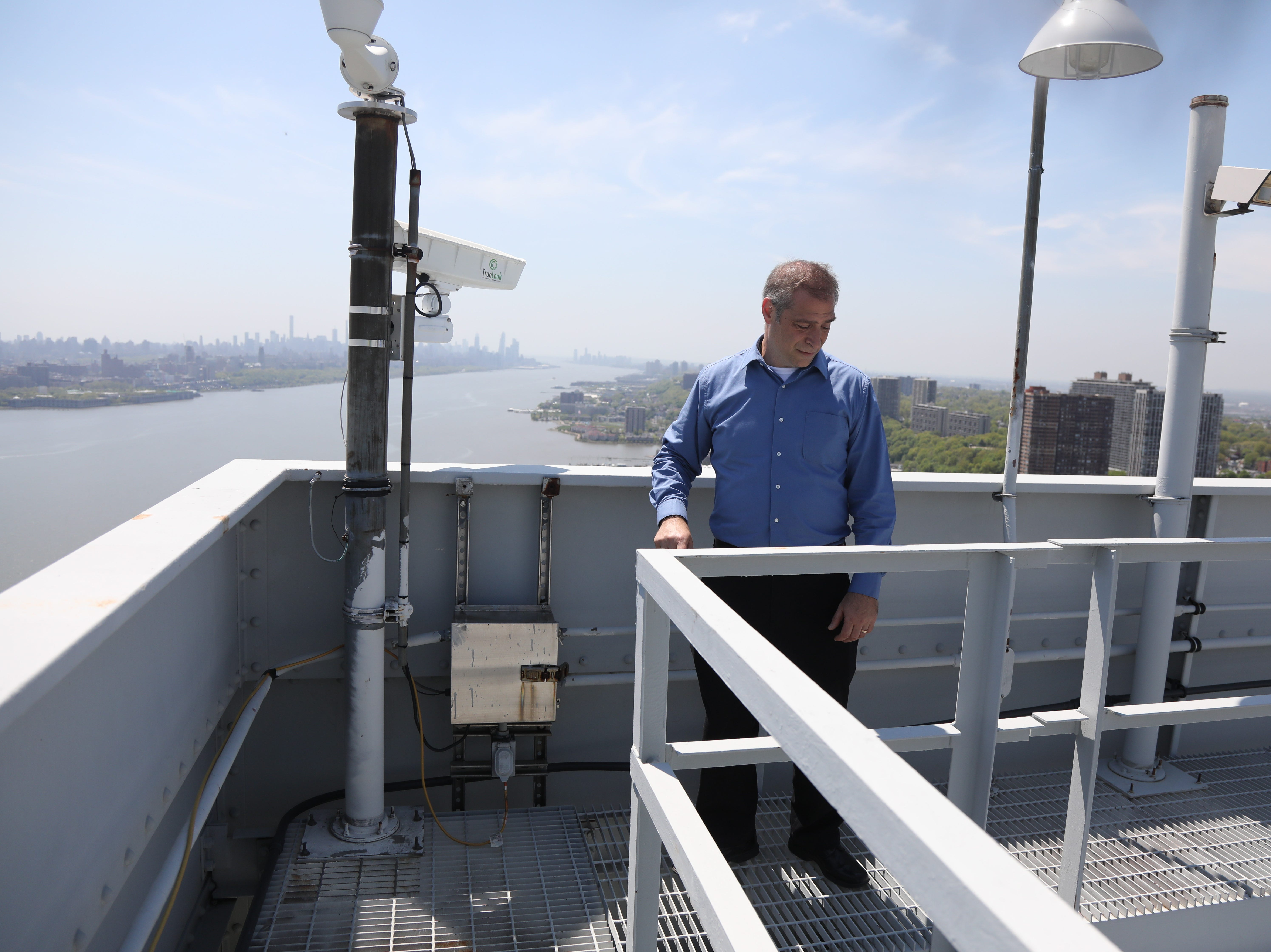 Ken Sagrestano, general manager of the George Washington Bridge of the GWB on top of the west tower of the bridge.