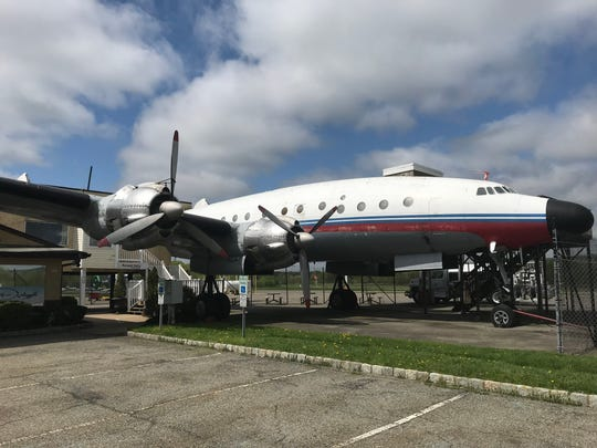 An early Lockheed Constellation with a fully-restored cockpit sits on the tarmac outside Greenwood Lake Airport on May 7, 2019. Like another Constellation to open at the TWA Hotel on May 15, 2019 was used as a cocktail lounge. It now serves as a museum.