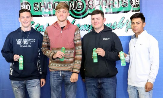 The Luna County 4-H Shotgun Team is, from left, Jaden Ruttle, Rocky Folker, Brent Hays and J.J. Jimenez.