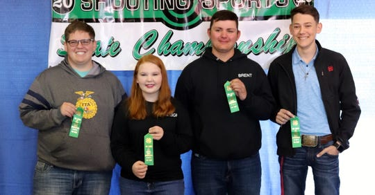 The Luna County 4-H 22.-Caliber Rifle Team is, from left, Reid Swinney, Calleigh Sweetser, Brent Hays and Truett Shafer.