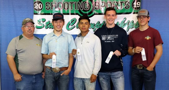 The Luna County 4-H Archery Team is, from left, Coach James Swope,  Nemo Perales, J.J. Jimenez, Jaden Ruttle and Sylas Turner.