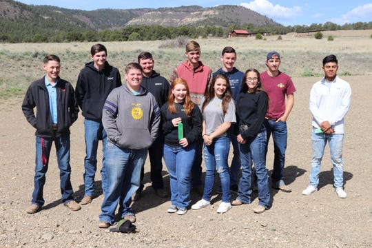 Luna County 4-H members compete at the New Mexico 4-H Shooting Sports state competition last weekend. They are, from left, Truett Shafer, Zane Wiseman, Reid Swinney, Brent Hays, Calleigh Sweetser, Rocky Folker, Ciera Wood, Jaden Ruttle, Emily Davenport, Sylas Turner, JJ Jimenez. Not Pictured:  Nemo Perales, Tatumn O'Toole and William Franzoy.