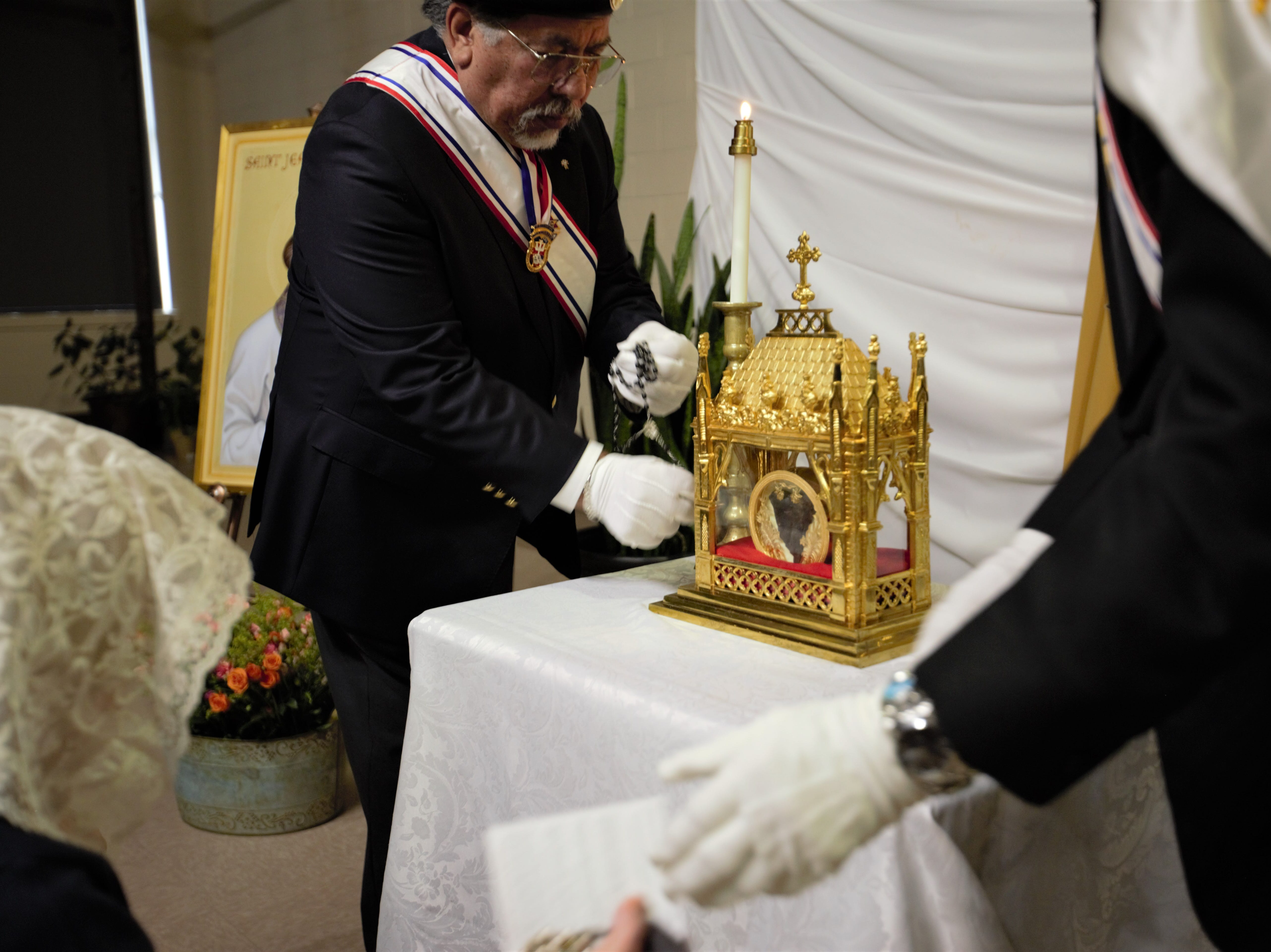The 160-year-old heart of St. Jean Vianney, contained in a reliquary, is displayed at the Cathedral of the Immaculate Heart of Mary in Las Cruces on Tuesday, May 7, 2019.