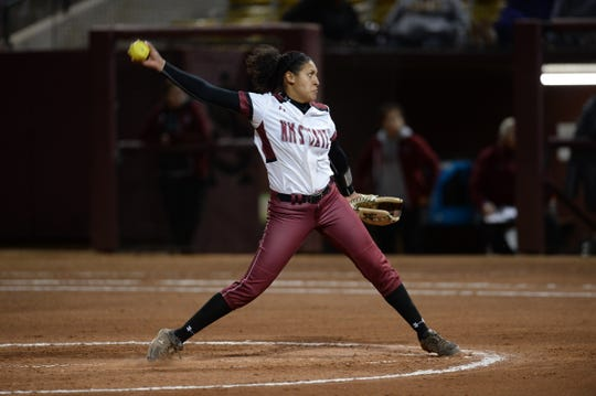New Mexico State pitcher Samaria Diaz was named the WAC Pitcher of the Year.