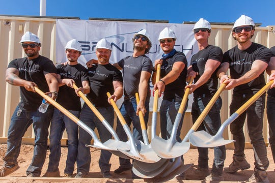 Members of SpinLaunch break ground at Spaceport America on Tuesday, May 7, 2019.