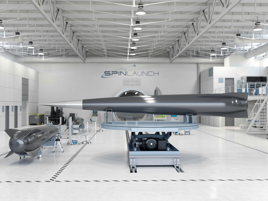 SpinLaunch is a California company that hurls rocket to the edge of space. They'll be testing their centrifuge system at Spaceport America in New Mexico.