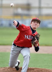 Franklin's Andrew Kent pitches some warm-up on May 8.