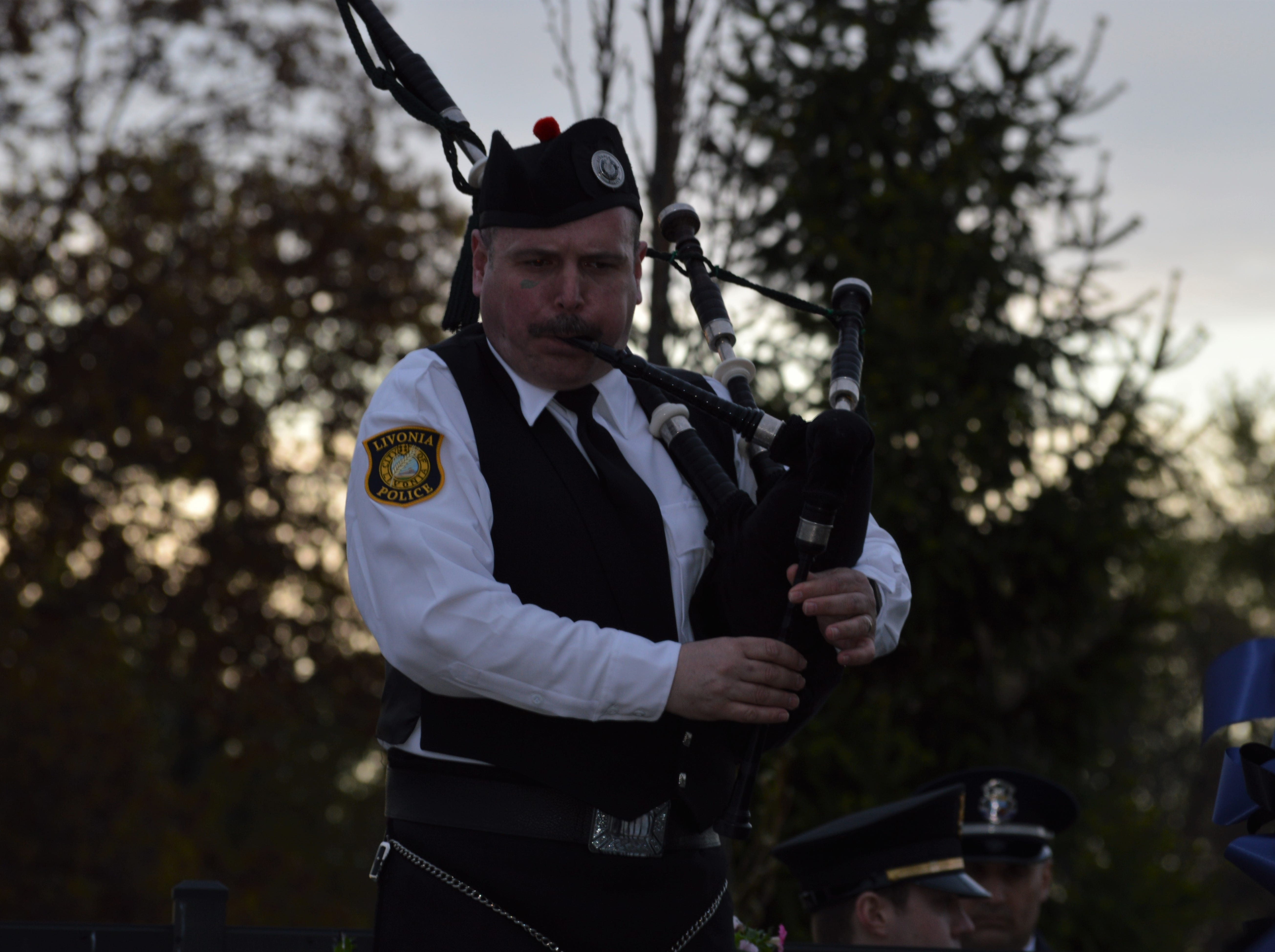 Bagpipes were played at the fifth annual Livonia Police Memorial Ceremony at Larry Nehasil Park on Tuesday, May 7, 2019.
