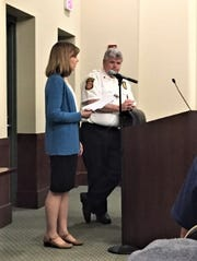 Plymouth Township resident Eileen Coleman spoke out against the township's plan to take over all ambulance runs.