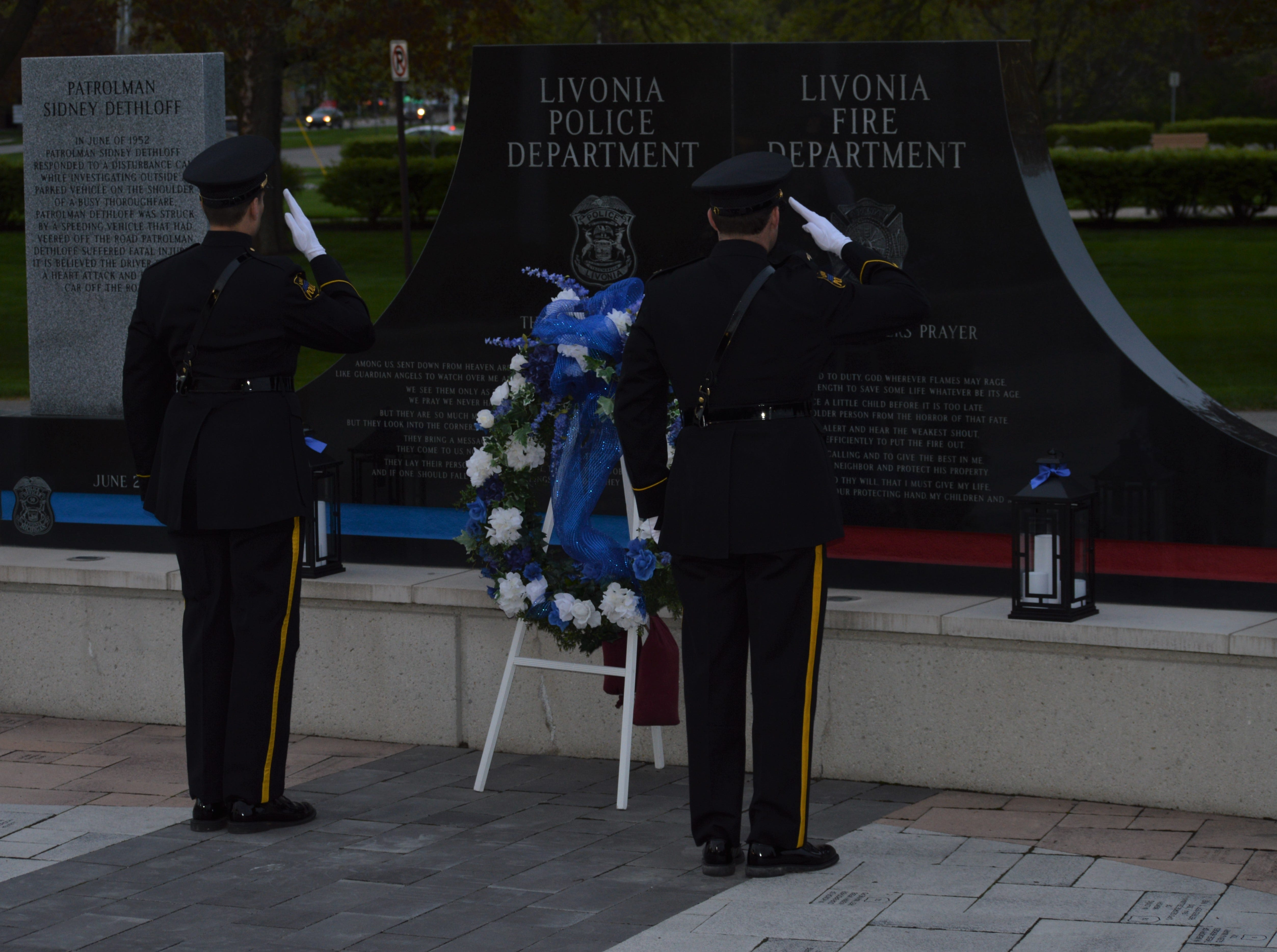 A wreath was presented to honor lost police officers during the fifth annual Livonia Police Memorial Ceremony at Larry Nehasil Park on May 7, 2019.