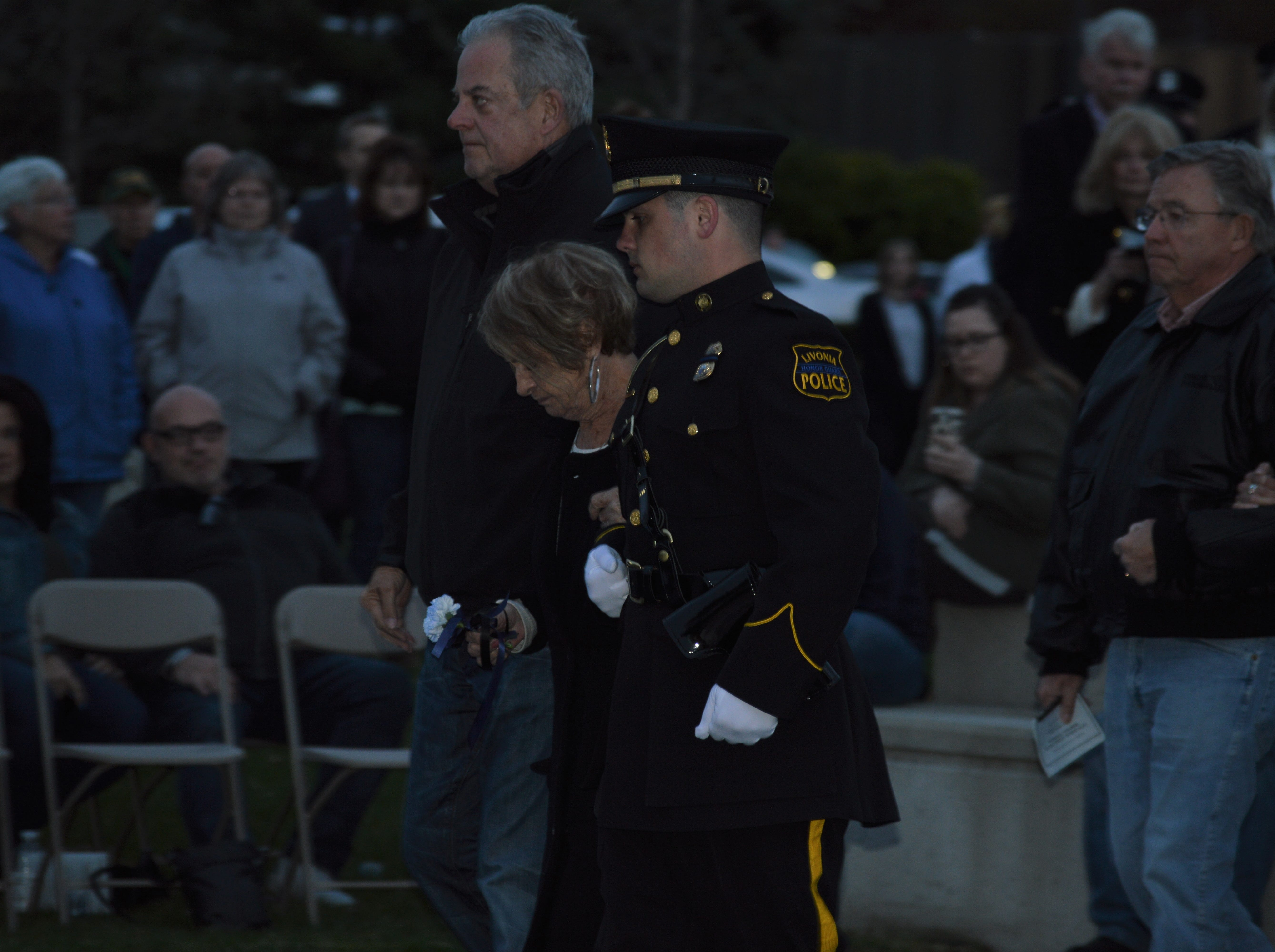 Rita Bryant was able to honor her deceased husband, a retired police officer who recently died, at the fifth annual Livonia Police Memorial Ceremony.