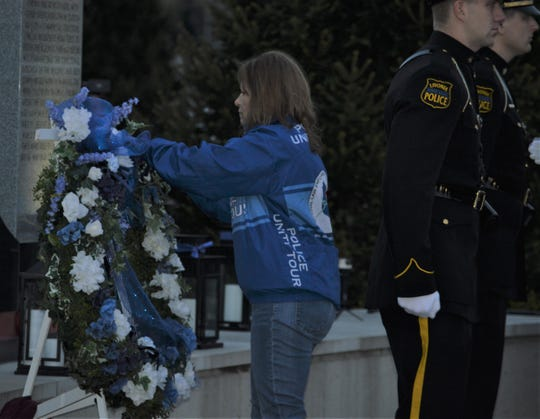 Linda Nehasil was a special guest at the fifth annual Livonia Police Memorial Ceremony at Larry Nehasil Park on Tuesday, May 7, 2019.