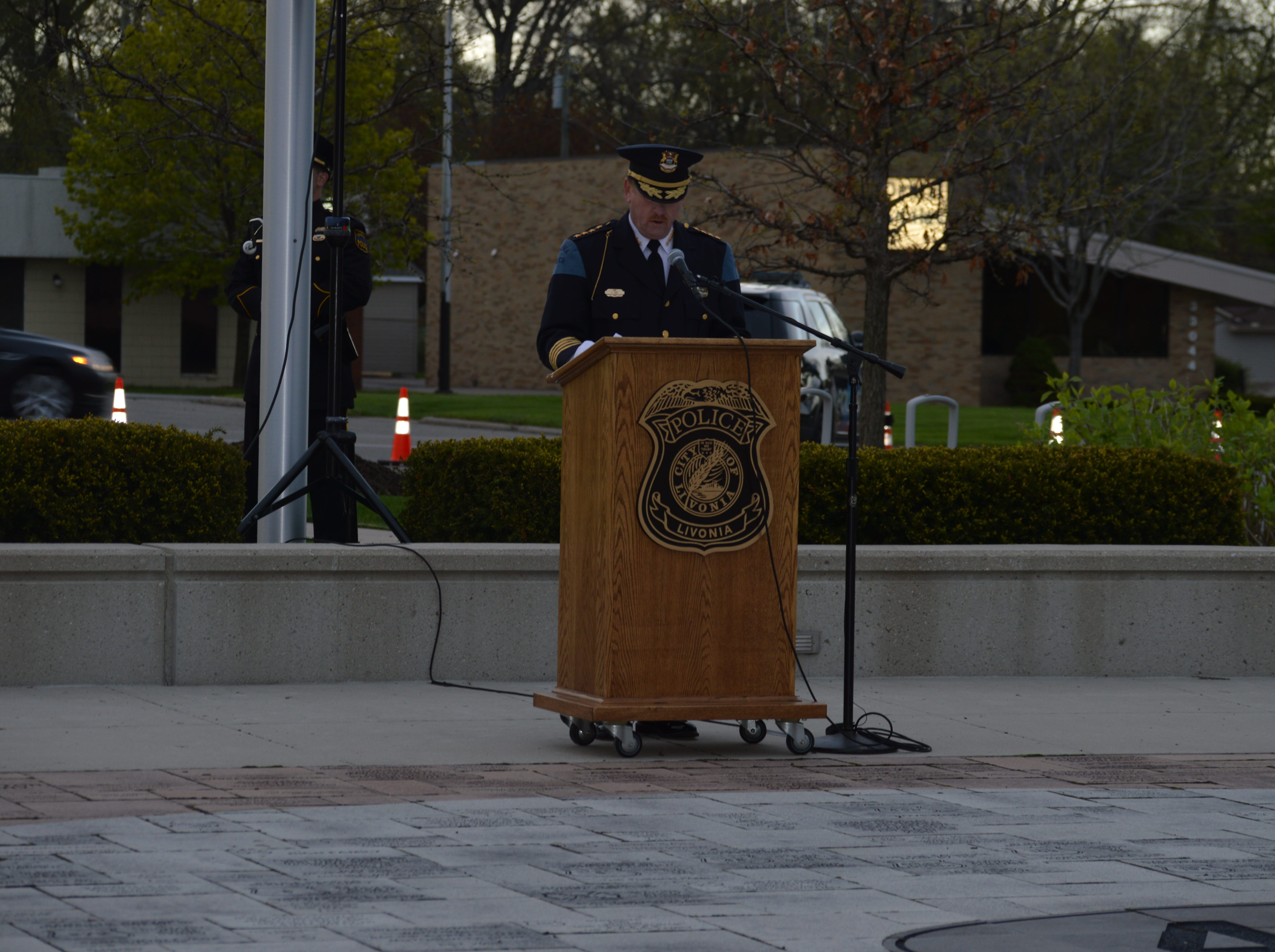 Livonia Police Chief Curtis Caid led the ceremonies at the fifth annual Livonia Police Memorial Ceremony at Larry Nehasil Park on May 7, 2019.