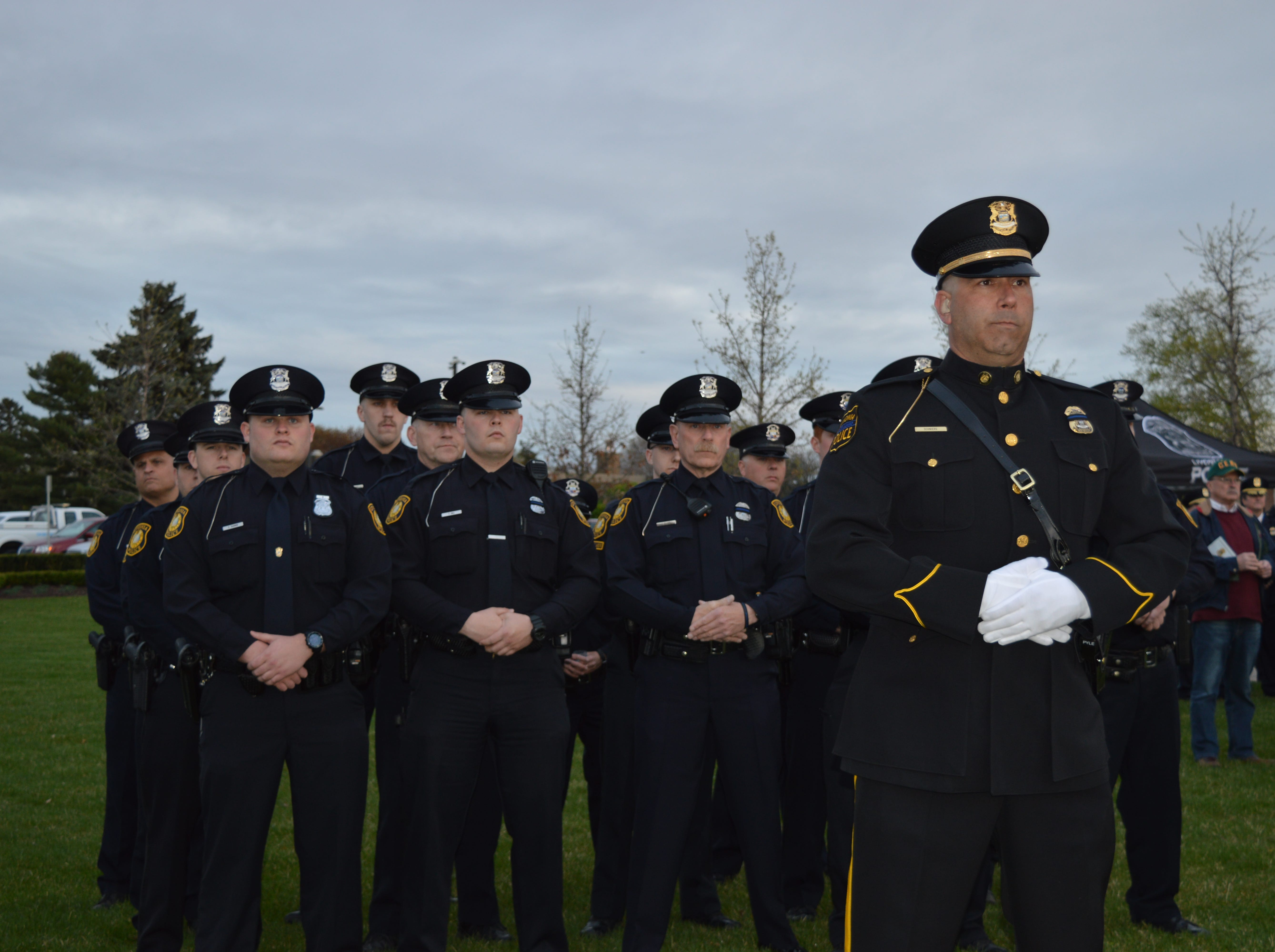Police officers joined community members in honoring fallen officers at Larry Nehasil Park during the fifth annual Livonia Police Memorial Ceremony on May 7, 2019.