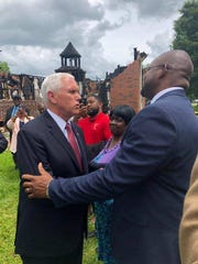 Tyrone Glover meeting Vice-President Mike Pence during his visit to Mt. Pleasant Baptist Church.