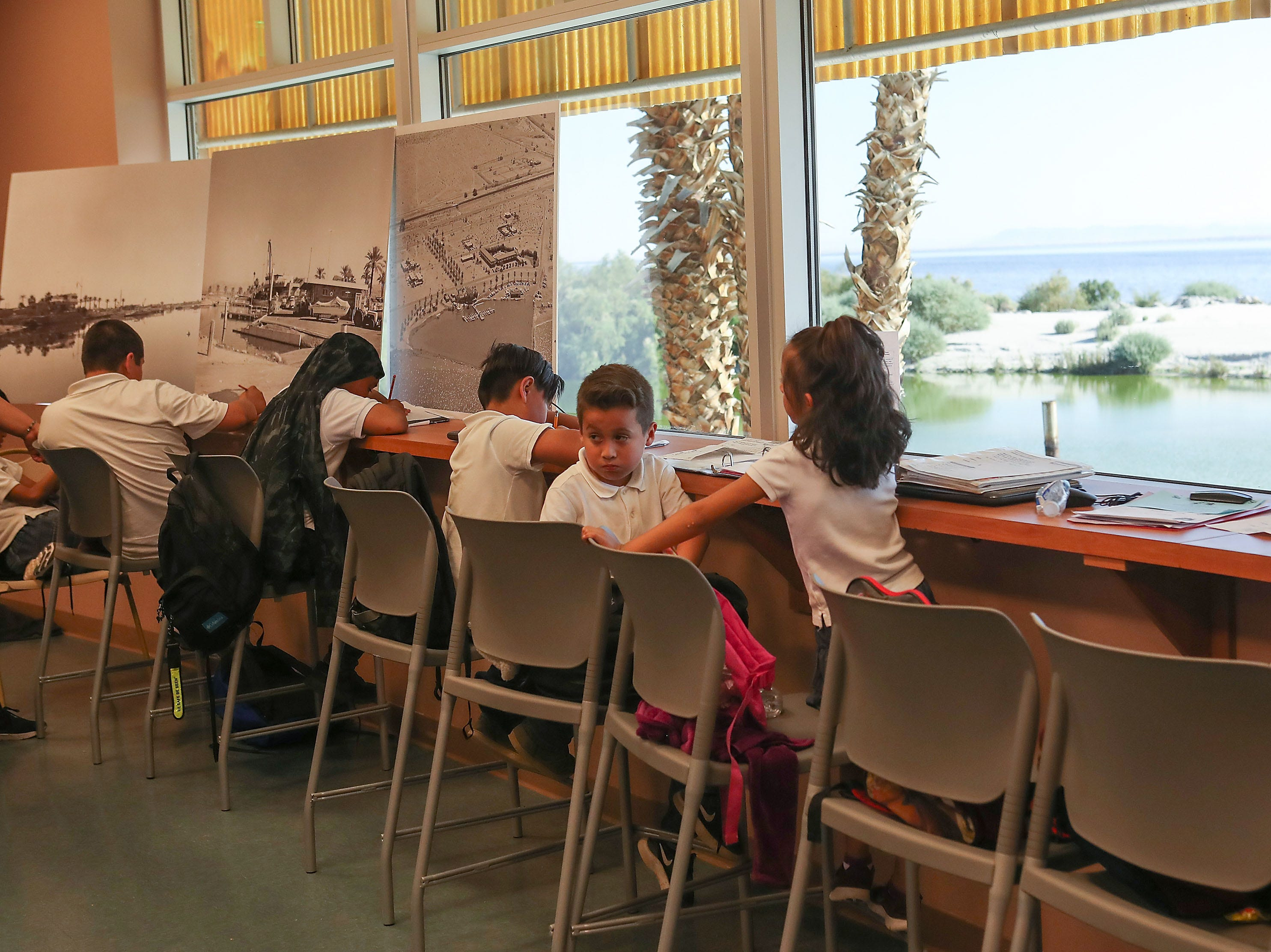 Students from North Shore do schoolwork at the North Shore Yacht Club on the Salton Sea, April 30, 2019.