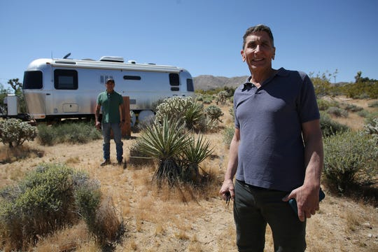Raoul La Vogue and Robert Rootenberg rent an Airstream on their property in Joshua Tree.