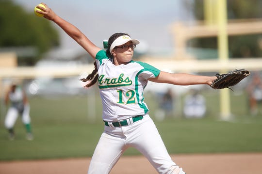 Coachella Valley High School's Paula Martinez pitches during her team's second round CIF game against La Puente in Thermal on May 7, 2019.