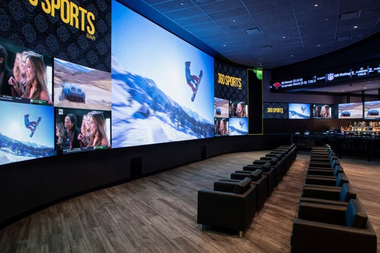Large televisions dominate the walls at 360 Sports bar at Agua Caliente Resort Casino Rancho Mirage, a facility that looks much like a Las Vegas style sports book but without the betting.
