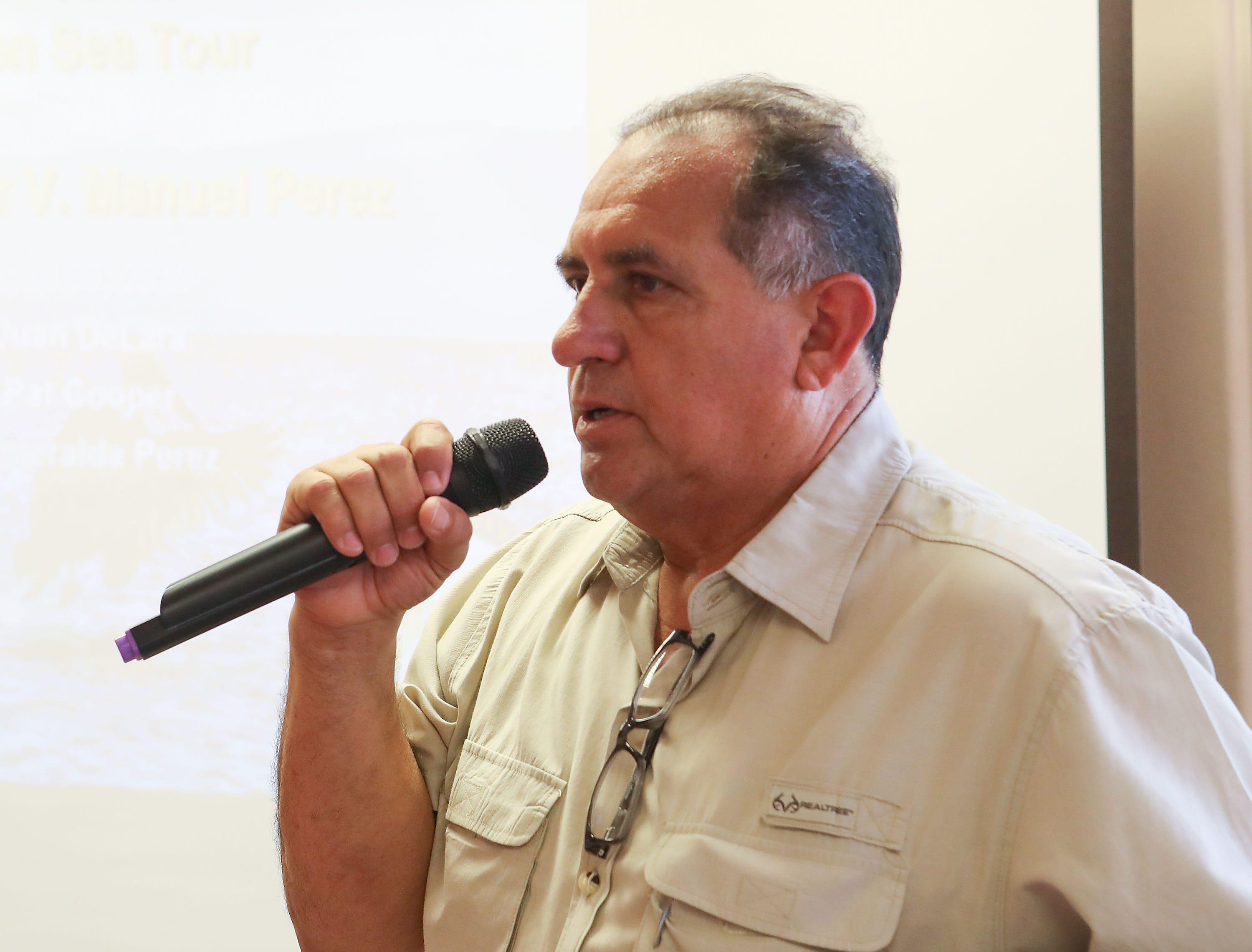 Juan De Lara speaks about the Salton Sea in Mecca, April 30, 2019.