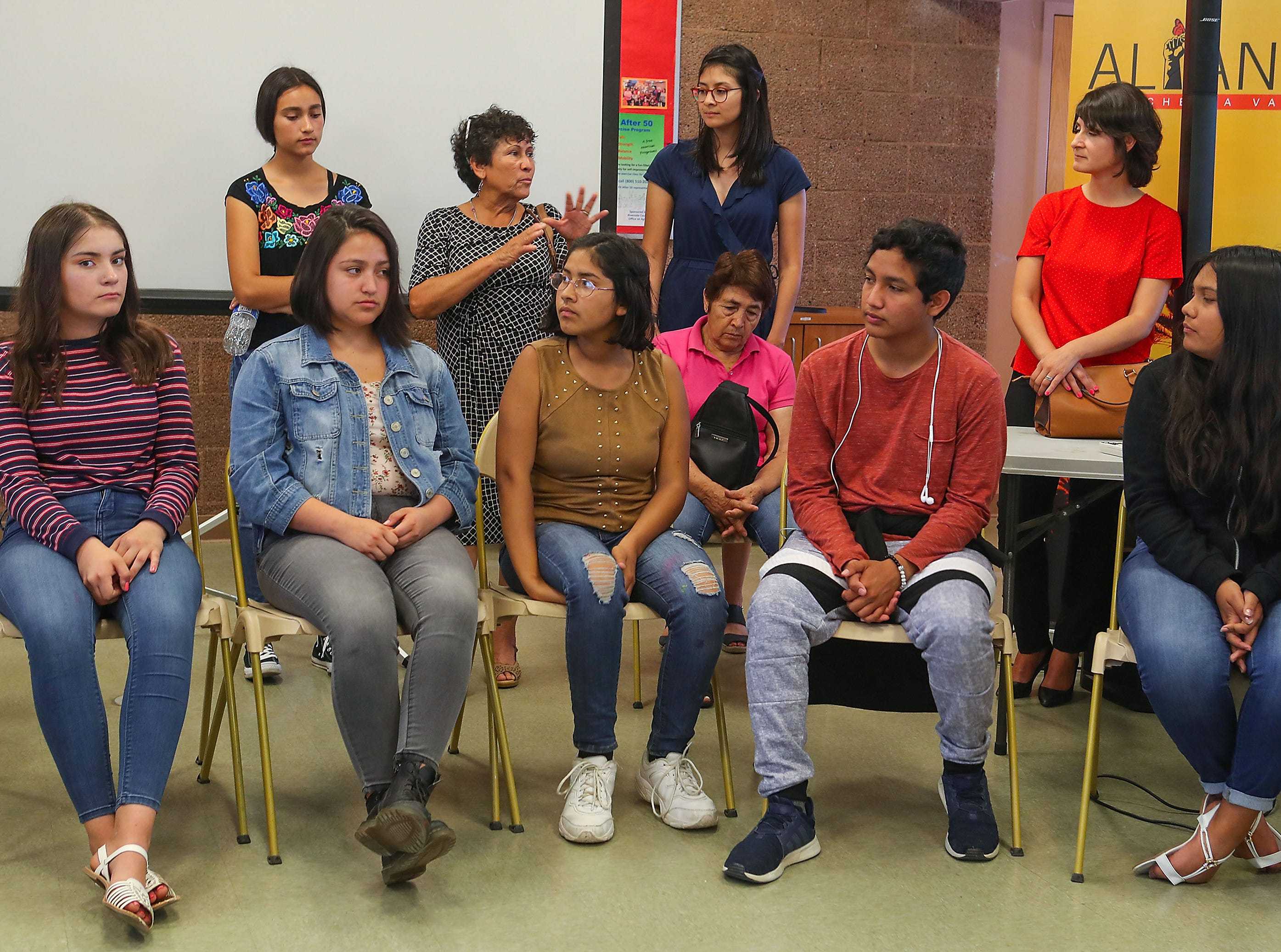 Students and community members from North Shore express their concerns about the state of the Salton Sea, April 30, 2019.