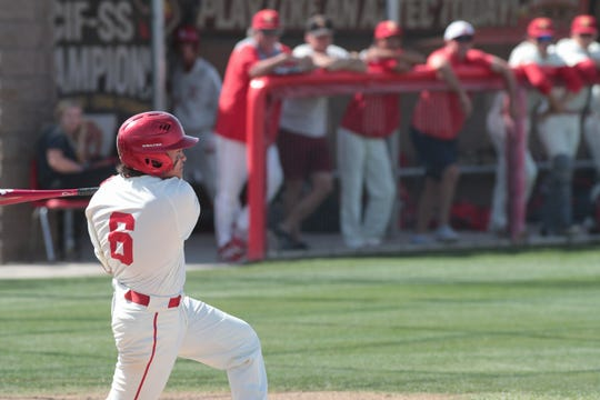 Joseph Jiminez bats for Palm Desert baseball against La Mirada in a Division 1 playoff game, Palm Desert, Calif., May 7, 2019.