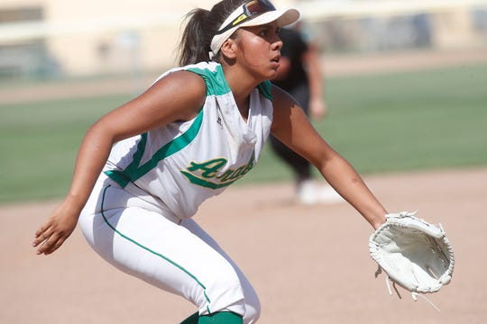 Coachella Valley High School's Kamryn Flores covers third base during her team's second round CIF game against La Puente in Thermal on May 7, 2019.