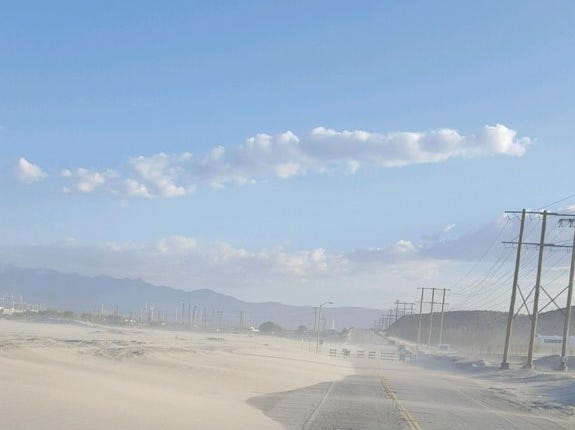 This photo shows Indian Canyon Drive at the Whitewater Wash on May 8. The road was closed due to blowing sand.